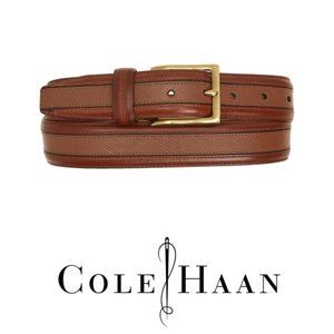 Cole Haan Mens Brown Textured Leather Belt Sz 36